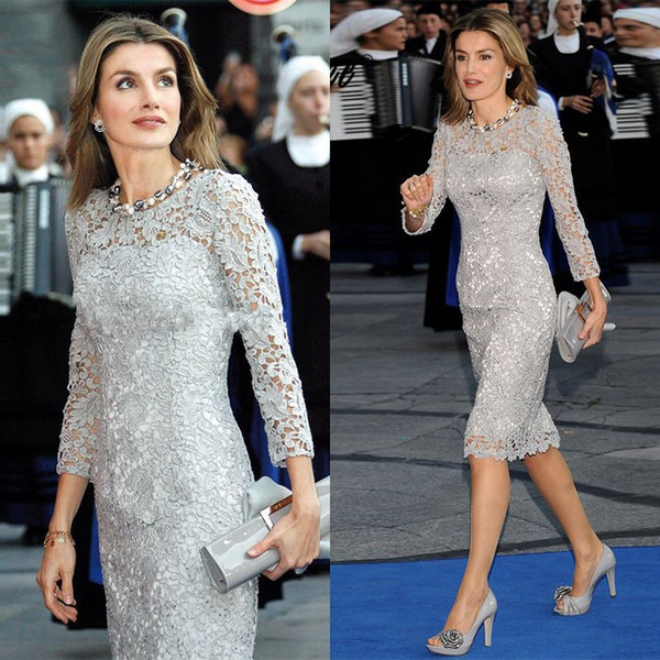 Short Mother Of The Bride Dresses 2019 Lace Long Sleeves Sheath Cocktail Wedding Guest Party Gowns Vestido Madrinha Farsali