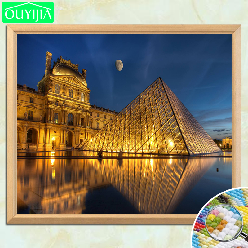 World Famous Scenic Spots Louvre Museum 5D DIY Diamond Painting Square Diamond Embroidery Rhinestones Mosaic Decor Picture image
