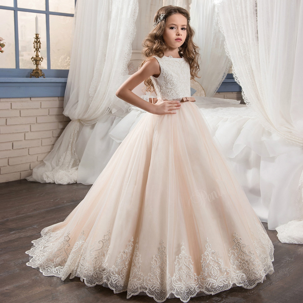 2018 Fancy Champagne Flower Girl Dress With Beige Ribbon Bow Crew Neck Mesh Ball Gowns Kids Holy Communion Dresses For Christmas