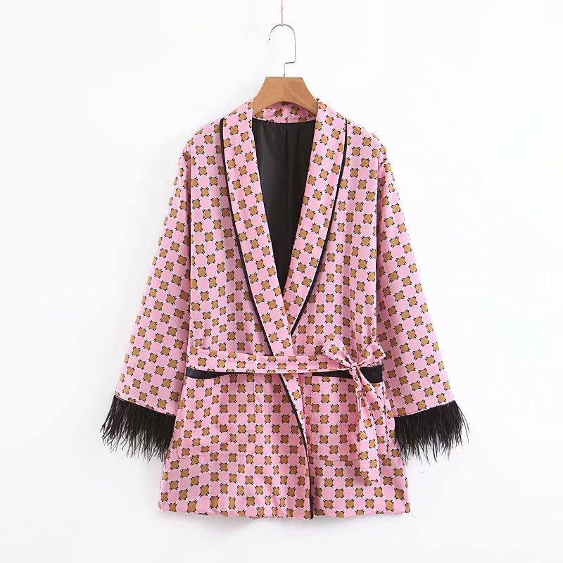 Women 39 s jacket feather tassel decoration drape casual printing suit blazer women 2019 summer new women 39 s clothing in Blazers from Women 39 s Clothing