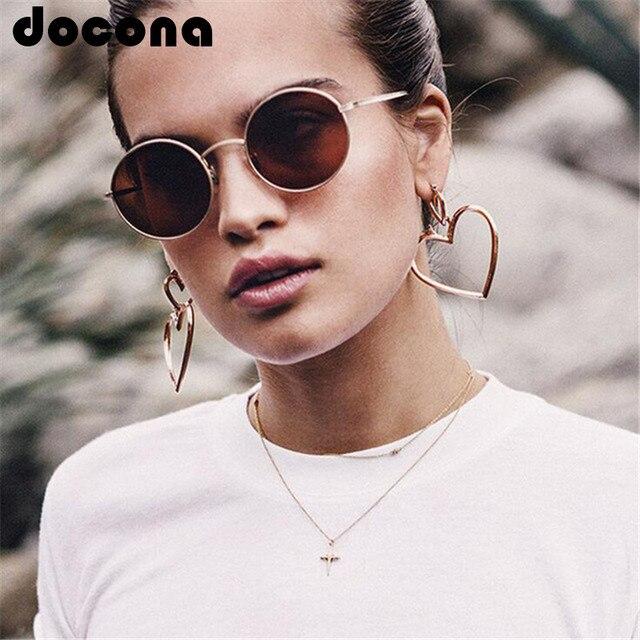 docona Bohemia Gold Silver Color Love Heart Shape Drop Earrings for Women Trendy