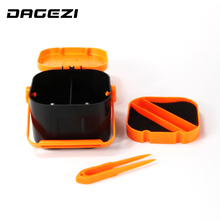 DAGEZI New ABS Plastic Double Layer Earthworm Worm Bait Lure Carp Fishing Tackle Box with Clip Fishing Accessories