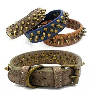 Halsband Leder mit Spikes