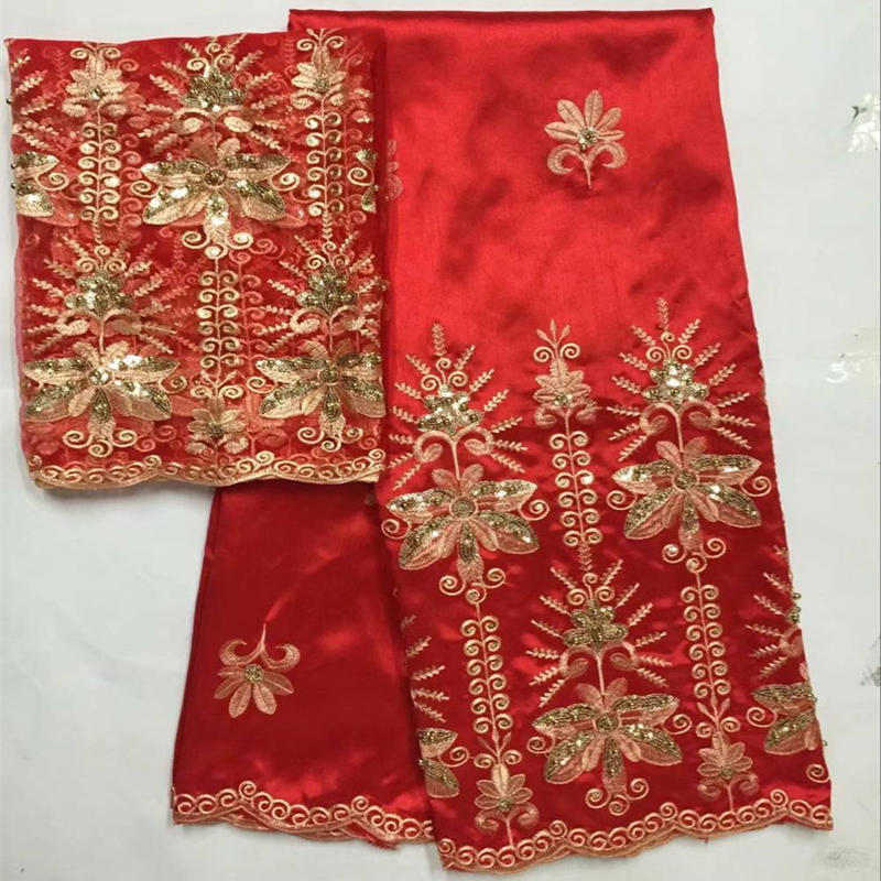 Elegant Red Color Georgette African Style Nigerian George Lace With Blouse Silk Fabric Set With 2 Yards French For Wedding 30Elegant Red Color Georgette African Style Nigerian George Lace With Blouse Silk Fabric Set With 2 Yards French For Wedding 30