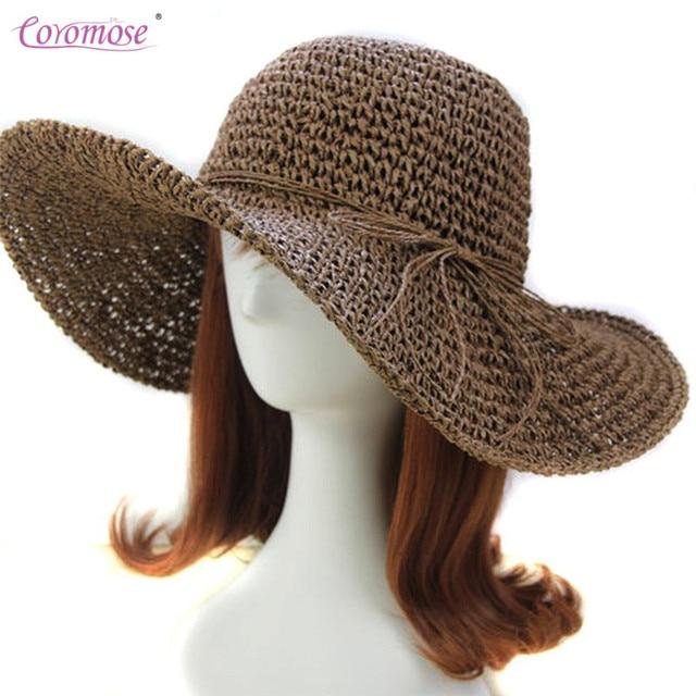 Coromose Moda Dobrável Mulheres Ampla Grande Floppy brim Summer Sun Cap  Chapéu de Palha Praia Menina 553f422fb77