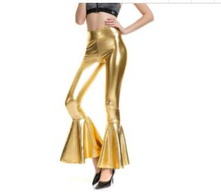Women Flare Shiny Leggings Laser Metallic Wetlook Ruffle Wide Leg Pants Retro 70s Disco Hippie Club Trousers Bell Bottoms