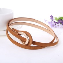 Metal Buckle Thin gold Leather Belt for women 2020 High Quality ceinture femme f