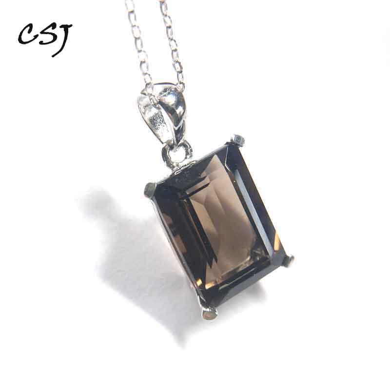 CSJ bijoux fins beau quartz fumé naturel argent Sterling 925 pendentifs pendule cristal pour femmes Collier cadeau boîte