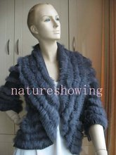 free shipping/real rabbit knitted rabbit fur vest /jacket/coat/outwear /gray