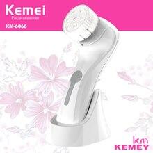 KM-6066 Kemei Waterproof IPX7 Ultrasonic Washing Machine Skin Massage Equipment Face Cleansing Instrument Facial Care Tools