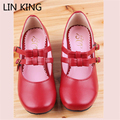 LIN KING Red Cosplay Lolita Shoes Sweet Mori Girl Bowtie Buckle Straps Low Heels Mary Janes Women's Leather Party Pumps Shoes