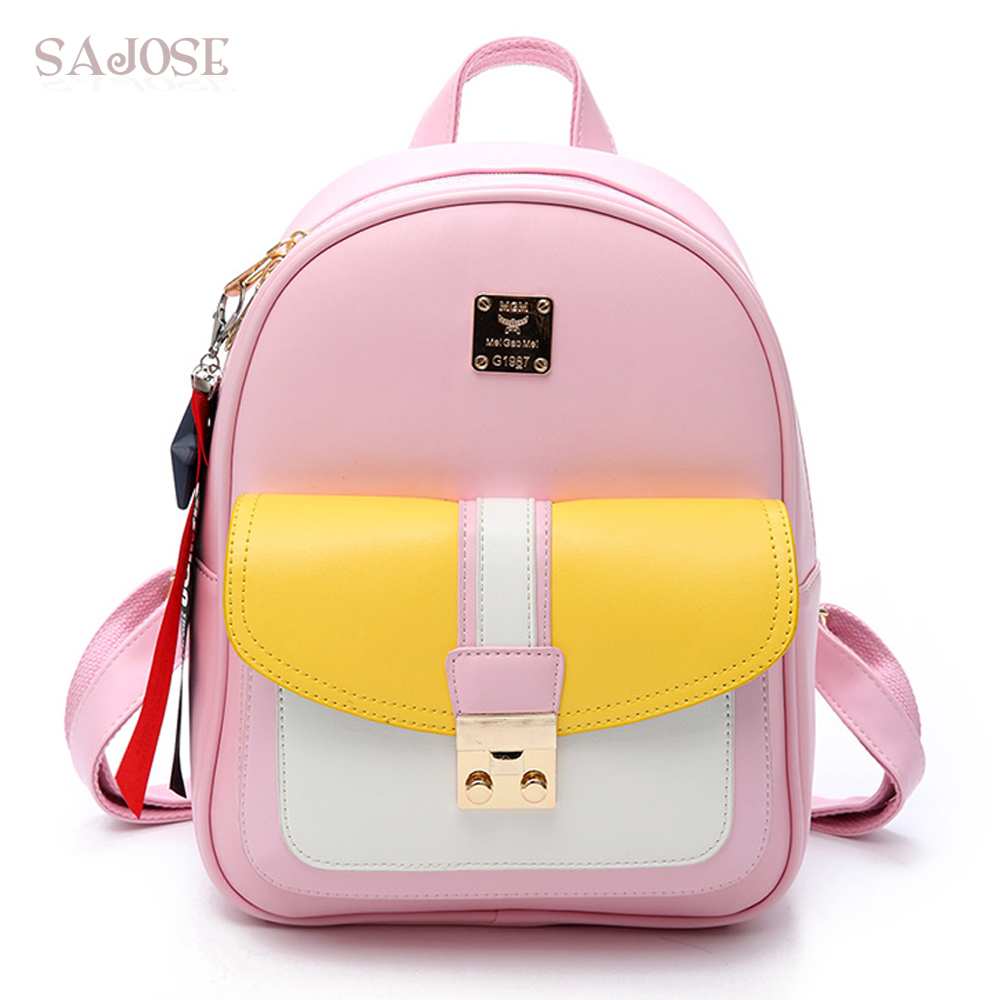 Women Leather Backpacks For Teenage Girls Fashion Backpack School Bag Pink Student Shoulder Bag SAJOSE midea electric kettle household kettle automatic power off 304 stainless steel genuine he1506b