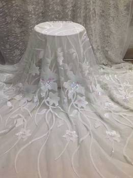 Free Shipping Hot Selling Embroidery Tulle Lace Fabric Africa Lace Fabric With Sequins Fabric For Wedding Dress Nigerian Lace Jl