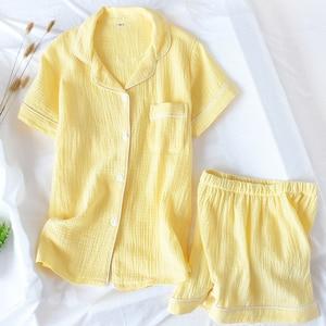 Image 2 - Summer Cotton Crepe Short sleeved Shorts Pyjamas Women Solid Thin Sexy Pajamas Loungewear Sleepwear Pink Home Couple Pijamas