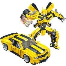 Bộ xếp hình Gudi Biến Hình Robot Xe Màu Vàng hình Viên Gạch Xây Dựng Thành Phố Khối tương thích với Người Tạo Ra Đồ Chơi Giáo Dục Cho Trẻ Em