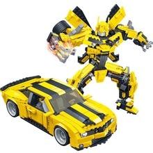 Gudi הופך רובוט צהוב רכב איור לבני עיר אבני בניין תואם עם בורא צעצועים חינוכיים לילדים