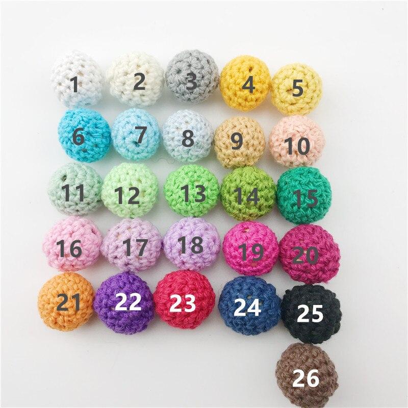 Купить с кэшбэком 90Pcs/Set Baby Nursing Teething Crochet Beads Set 16mm Chewable Beads DIY Jewelry Nursing Accessories Toy Baby Teether Best Gift