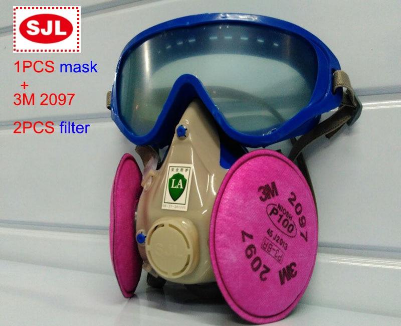 SJL respirator mask + 3M 2097 filter protective mask against Painting Graffiti spraying filter mask 3m 7502 mask 2097 filter genuine high quality respirator face mask painting graffiti polished respirator gas mask