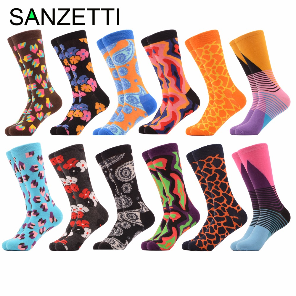 SANZETTI 12 Pairs/Lot Mens Fashion Combed Cotton Colorful Skateboard Socks Funny Pattern Novelty Casual Dress Wedding Socks