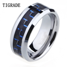 TIGRADE 8mm High Polish Edge Black & Blue Carbon Fiber Tungsten Ring Men Wedding Band Engagement Jewelry Tail Comfort Fit