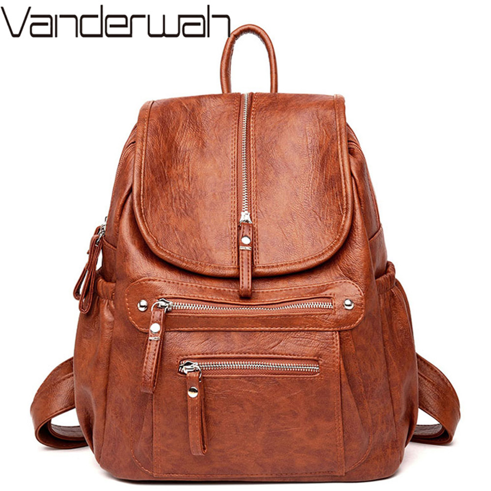 2019 Women Backpack Female High Quality PU Leather Book School Bag For Teenage Girls Travel Back pack Rucksacks Sac A Dos Femme(China)