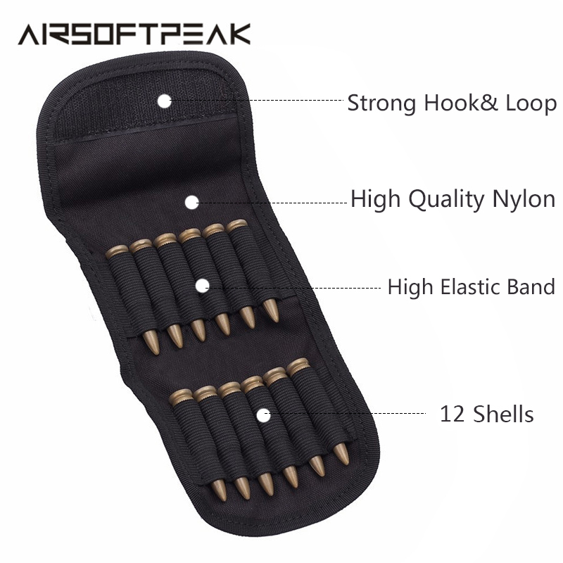 Airsoft 12 Round Shell Rifle Cartridge Hunting Foldable Ammo Carrier Bag Shotgun Bullet Holder Rifle EDC Tactical Molle GA Pouch