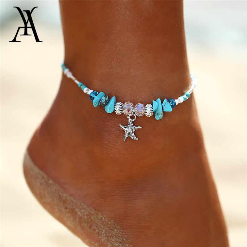 Богемный Морская звезда подвесные ножные браслеты для женщин Boho натуральный камень бусины браслеты на ногу Мода Пляжное украшение на ногу интимные аксессуары