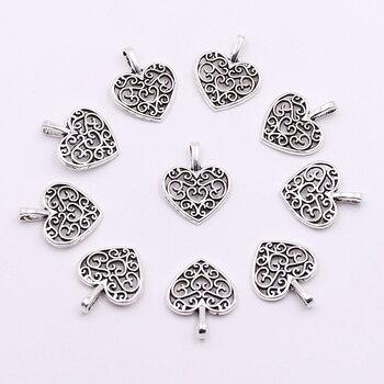 Precio al por mayor de plata tibetana de Metal encantos colgantes grabar flor corazón encantos a granel DIY accesorios para pulseras haciendo
