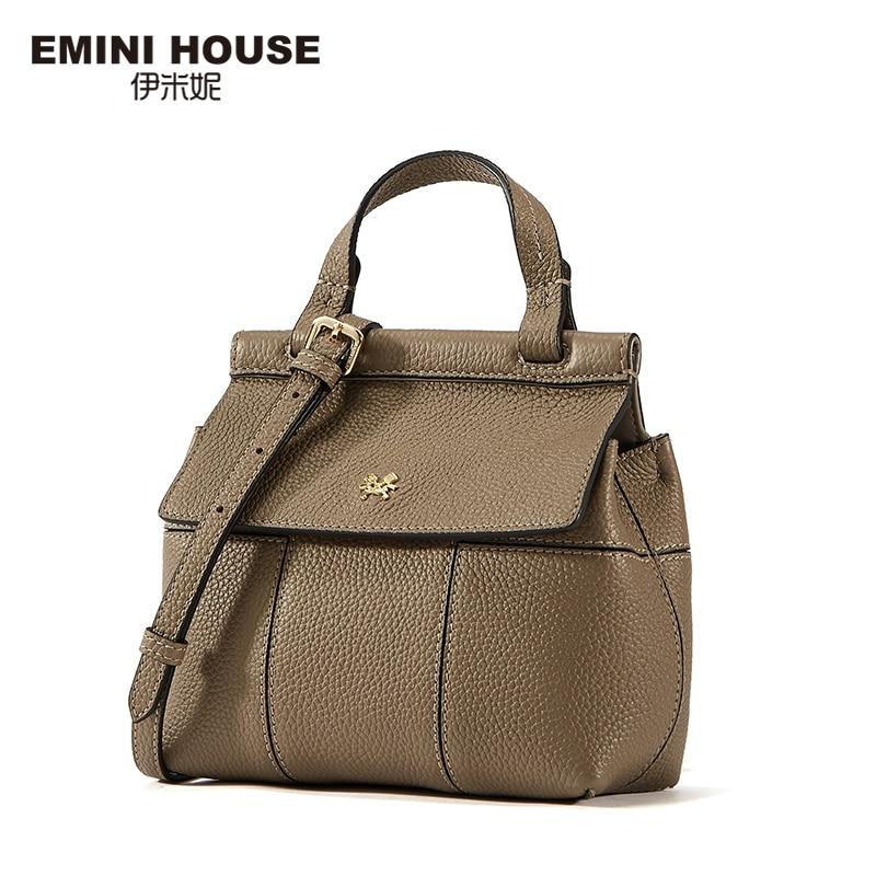 EMINI HOUSE Flap Genuine Leather Bag For Women Luxury Handbags Women Bags Designer Crossbody Bags for Women Roomy Shoulder Bag