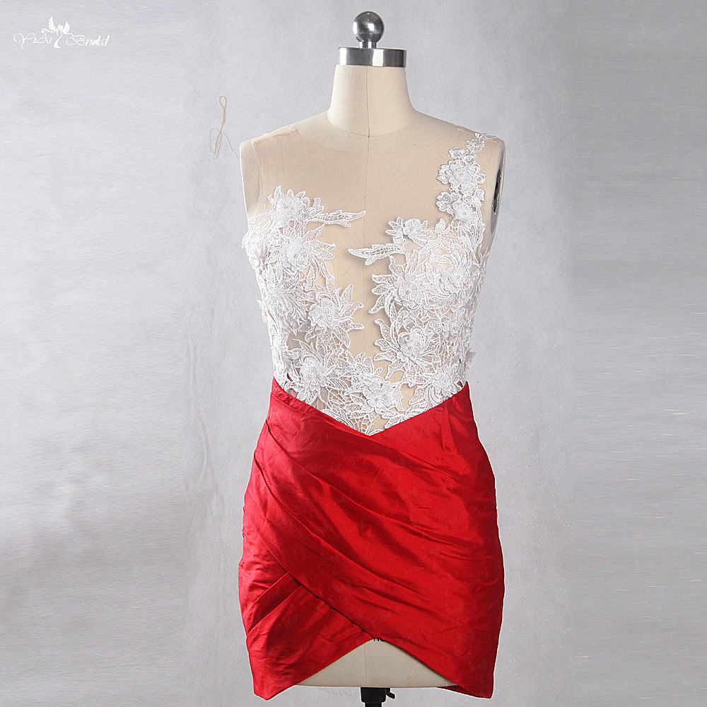 RSE836 Backless Mini Party Red Skirt White Sheer Sexy   Cocktail     Dress