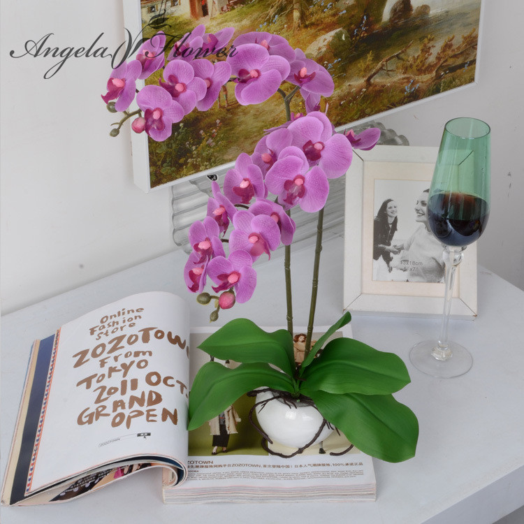 Buy one set phalaenopsis artificial for Angela florist decoration