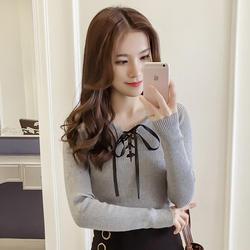 2018 Новый Осень Для женщин рубашки Вязание длинный рукав; блузка рубашка серый белый черный ярко-красный 8673