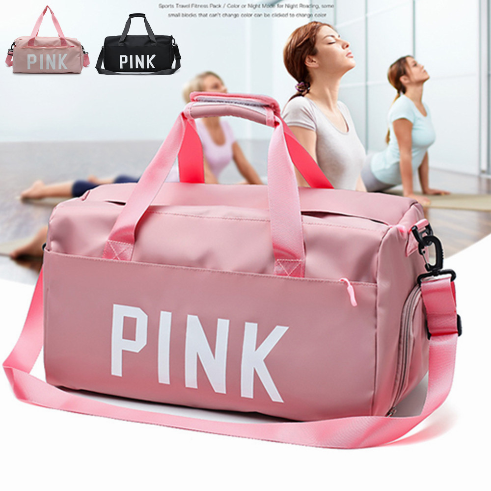 2019 Black Pink Print Outdoor Waterproof Nylon Sports Gym Bags Men Women Girls Training Fitness Travel Handbag Yoga Mat Bag