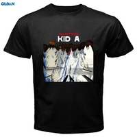 GILDAN New RADIOHEAD KID A Rock Band Men S White Black T Shirt Great Discount Cotton