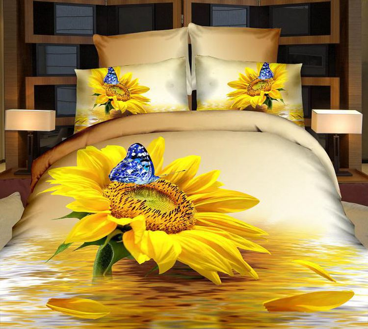 3D Sunflower Butterfly 100% Cotton Bedding sets Queen size bedspread quilt duvet cover bed in a bag sheet linen oil painting