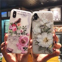 3D Relief Floral Phone Case For iPhone 6s 7 XS Max Girly Silicon Cover 6 S Cases 8 Plus XR