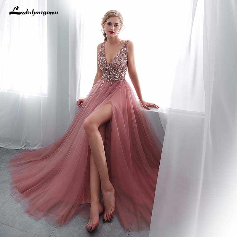 59a01dfd363b5 ... lakshmigown V Neck Beading Evening Dress Back Lace Up Evening Dress  With Slit Evening Gown 2018 ...