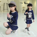 2 3 4 5 6 7 8 9 10 11 12 Years Cartoon Clothing Set for Girls Clothes Baby Lovely Owl Tops+Skirts Sets children Autumn Suit