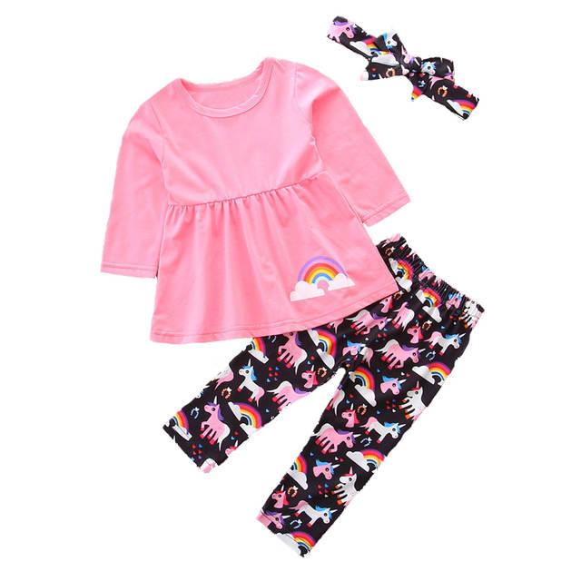 f9ed41f54 placeholder Fashion Girls Clothing Set Pink Rainbow Girl Shirt Dress +  Unicorn Leggings Pants Sets for Kids