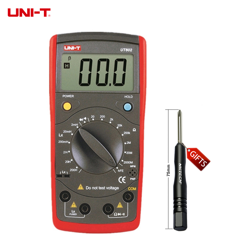 ФОТО UNI-T UT602 Digital Modern Professional Inductance Meters Testers LR Meter Ohmmeter w/hFE Test & Data Hold