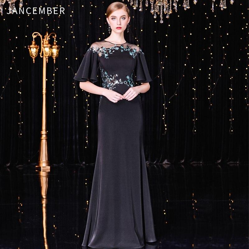 JANCEMBER Robe Soiree Femme Longue High-Neck Straight Half Sleeve Floor-Length Vintage Sequined Pattern Sukienki Koktajlowe