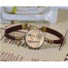 Браслет с надписью «born to wander» браслеты со стеклянным куполом