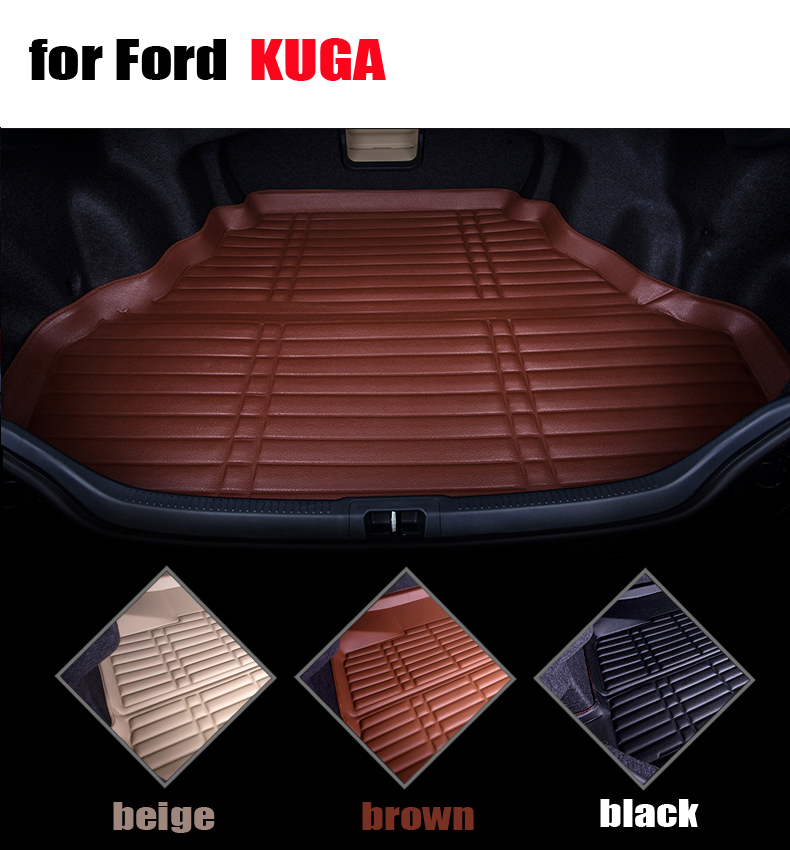 Trunk mats for Ford Escape / kuga 2012-2016 car cargo trunk floor mat liner all weather EVA leather waterproof carpets auto mats car rear trunk security shield cargo cover for volkswagen vw tiguan 2016 2017 2018 high qualit black beige auto accessories