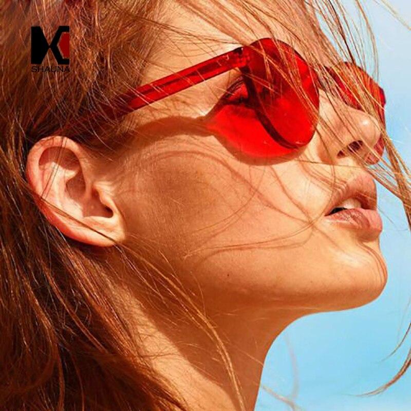 SHAUNA Mode Frühjahr Sommer Stile Frauen Bonbonfarben Sonnenbrille Damen Grün Getönt Dicke Linse Männer Randlose Brille