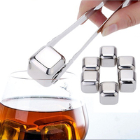 6Pcs 4Pcs Stainless Steel Cooler Set Reusable Wine Drinks Cooling Chilling Cube