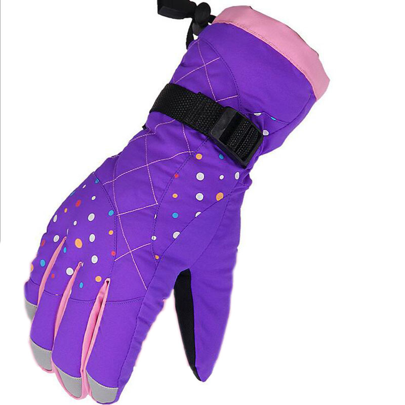 Children Ski <font><b>Gloves</b></font> waterproof Boys/Girls Sports Winter <font><b>Warm</b></font> Windproof Snow Mittens Extended Wrist Snowboard <font><b>Gloves</b></font> thermal