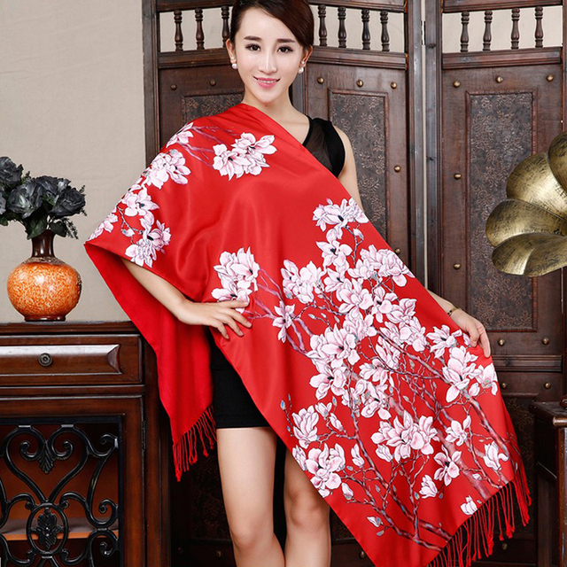 Chinese style Printed women Scarf Fashion Elegant New Arrivals Spring Scarves double-sided women silk pashmina 190 * 52