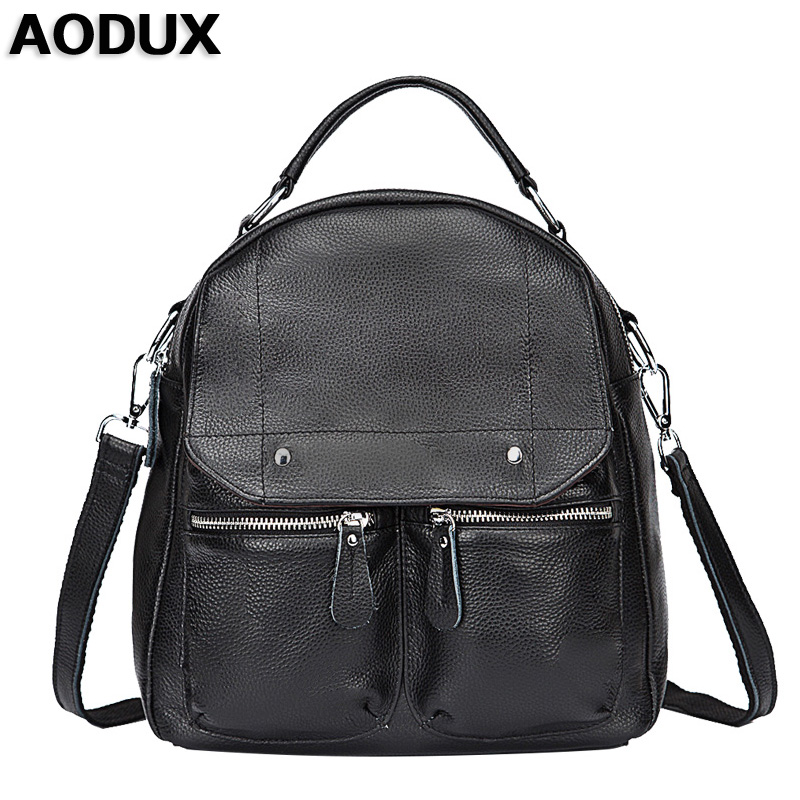 AODUX Top Brand New Genuine Leather Real Cowhide Women Backpack Top Layer Cow Leather School Bag Sack Backpacks Girls women bag 2016 new foxer brand women genuine leather backpack fashion quality women cowhide leisure wild student backpack