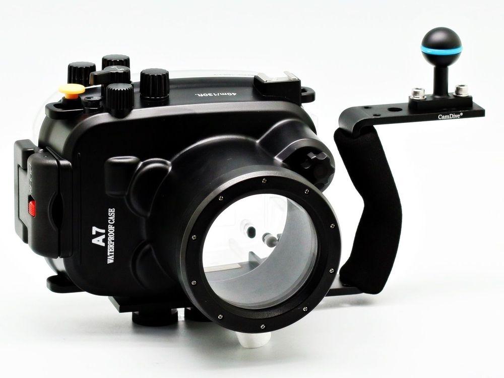 Boîtier de plongée étanche pour caméra sous-marine 40 m/130ft + poignée en aluminium pour Sony A7/A7r/A7s 28-70mm