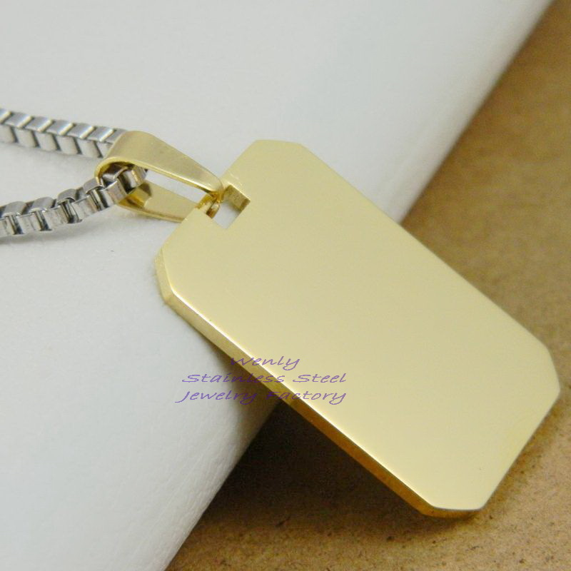 18K Gold Plated 316L Stainless Steel Blank Dog Tags Fashion Men Army